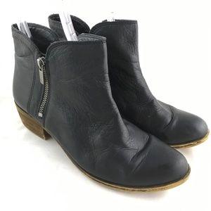 Ankle booties black leather double zip block Breah